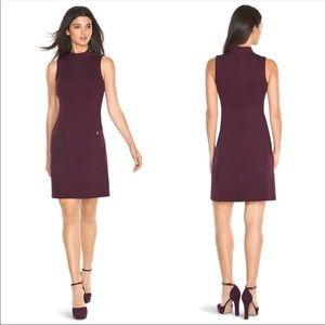 WHBM Burgundy Mock Neck Shift Dress 00